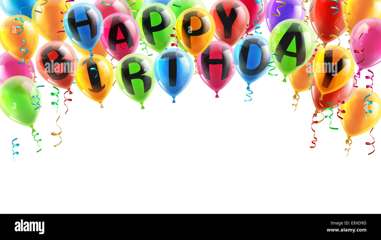 A background illustration of balloons spelling Happy Birthday Great
