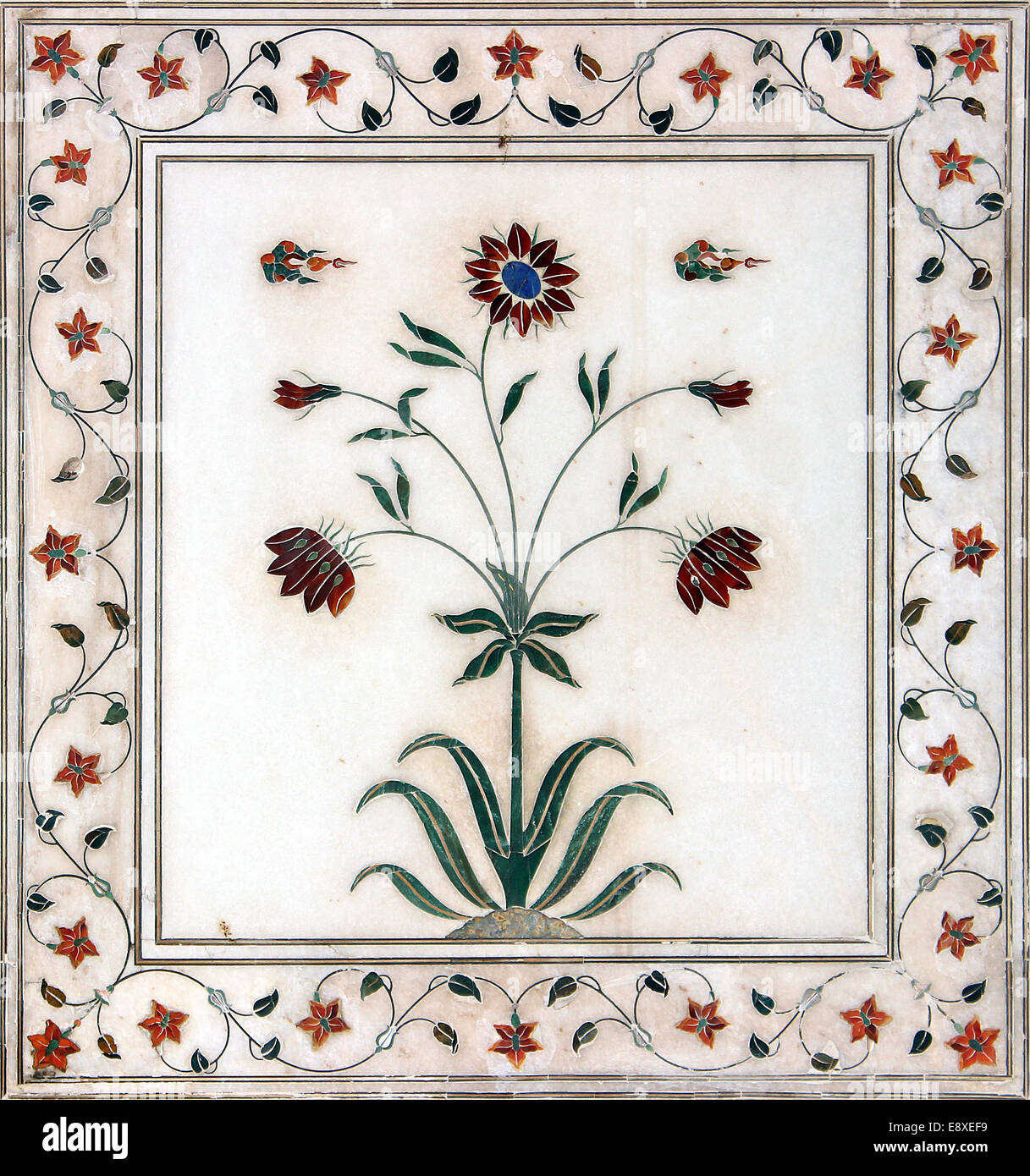 Marble flower design stock photos marble flower design stock beautiful flower natural color decorated design on the marble pillar of red fort izmirmasajfo