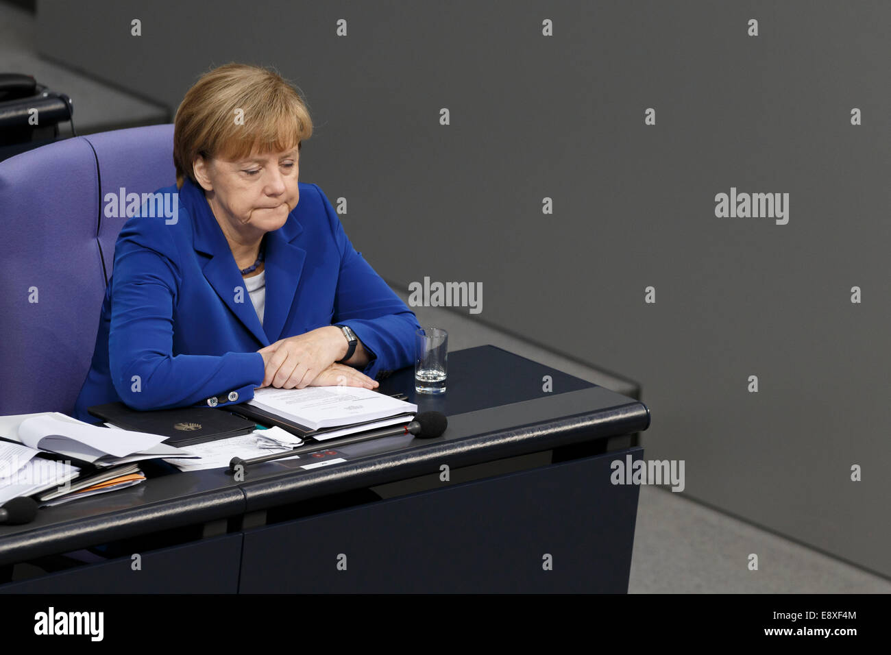 Berlin, Germany. 16th October, 2014. Delivery of a governmental declaration by the German Chancellor Angela Merkel - Stock Image