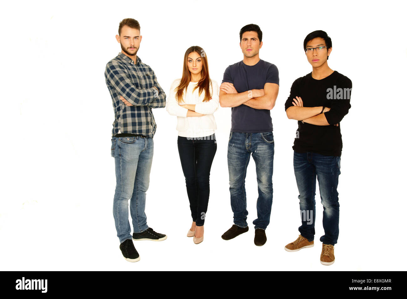 Full length portrait of a friends in casual cloth over white background - Stock Image