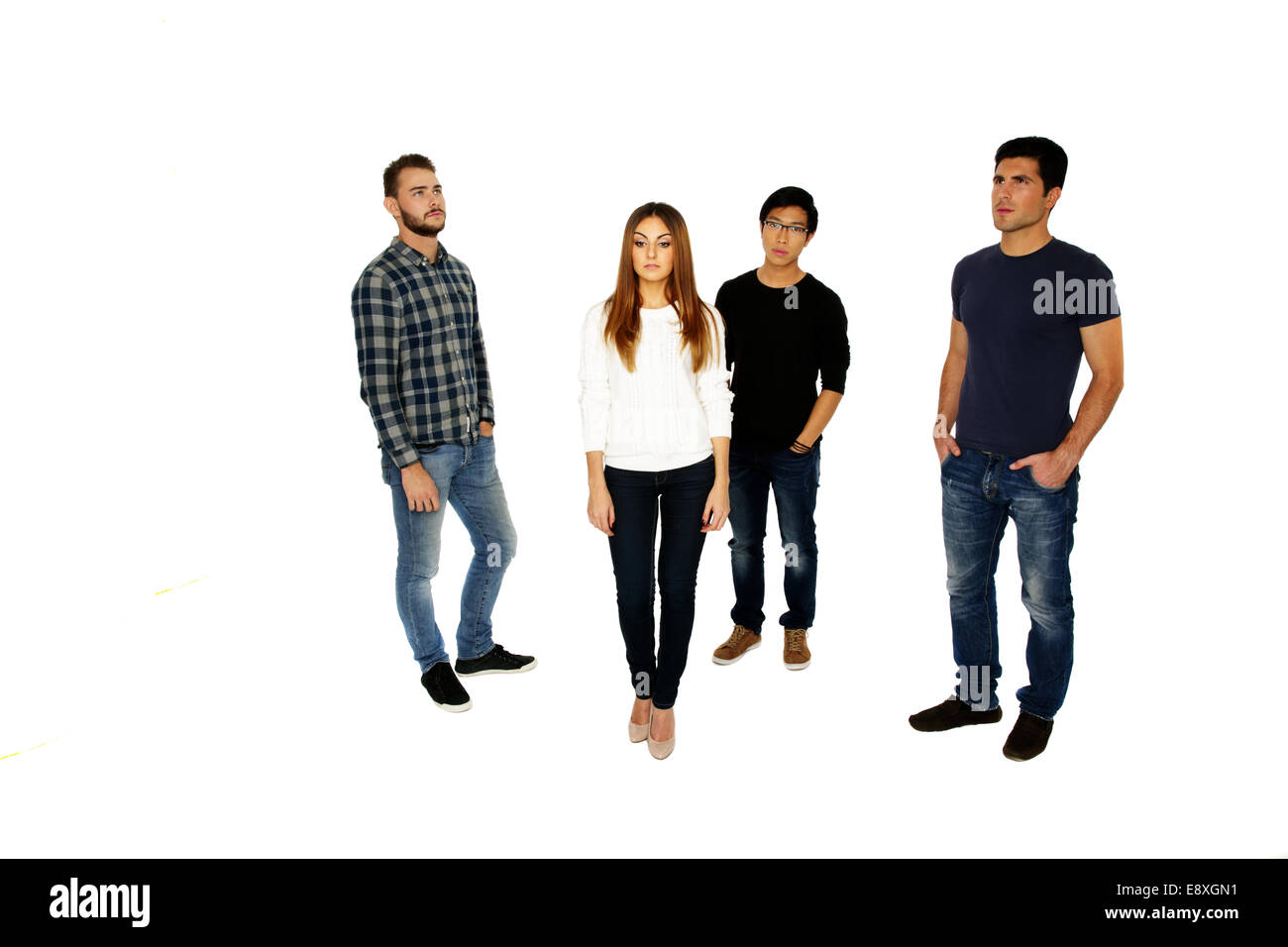 Group of a young people isolated on a white background Stock Photo