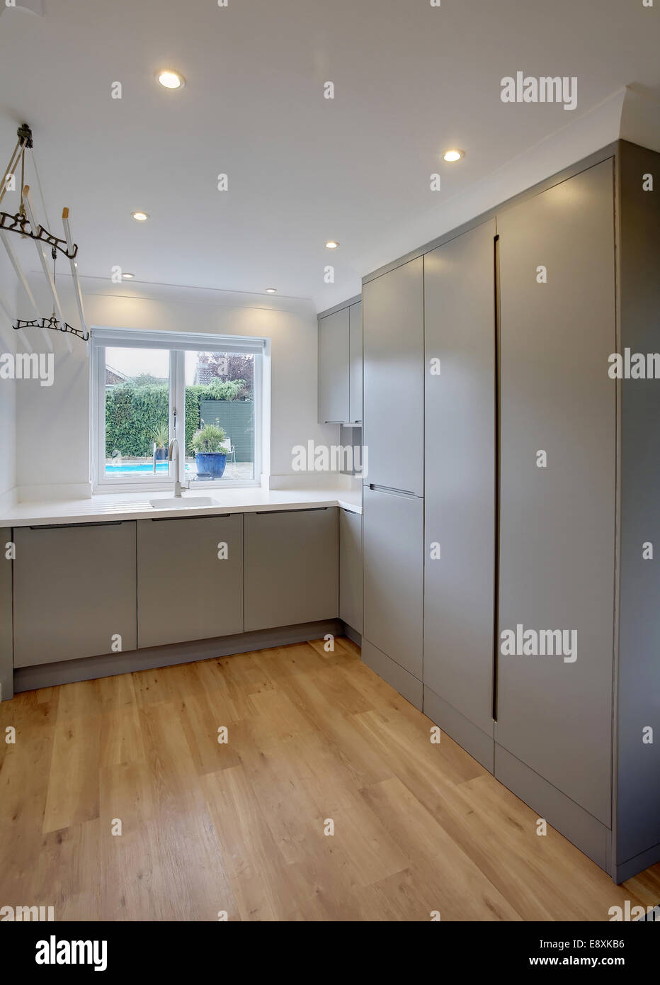 A utility room in a home in the UK with all the doors closed. & A utility room in a home in the UK with all the doors closed Stock ...