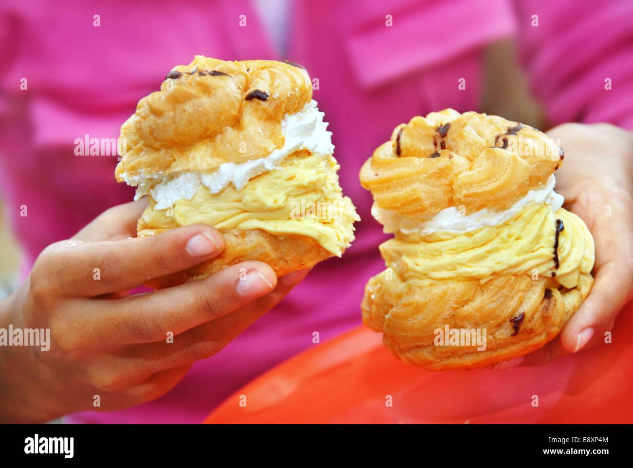 Cream cakes - Stock Image
