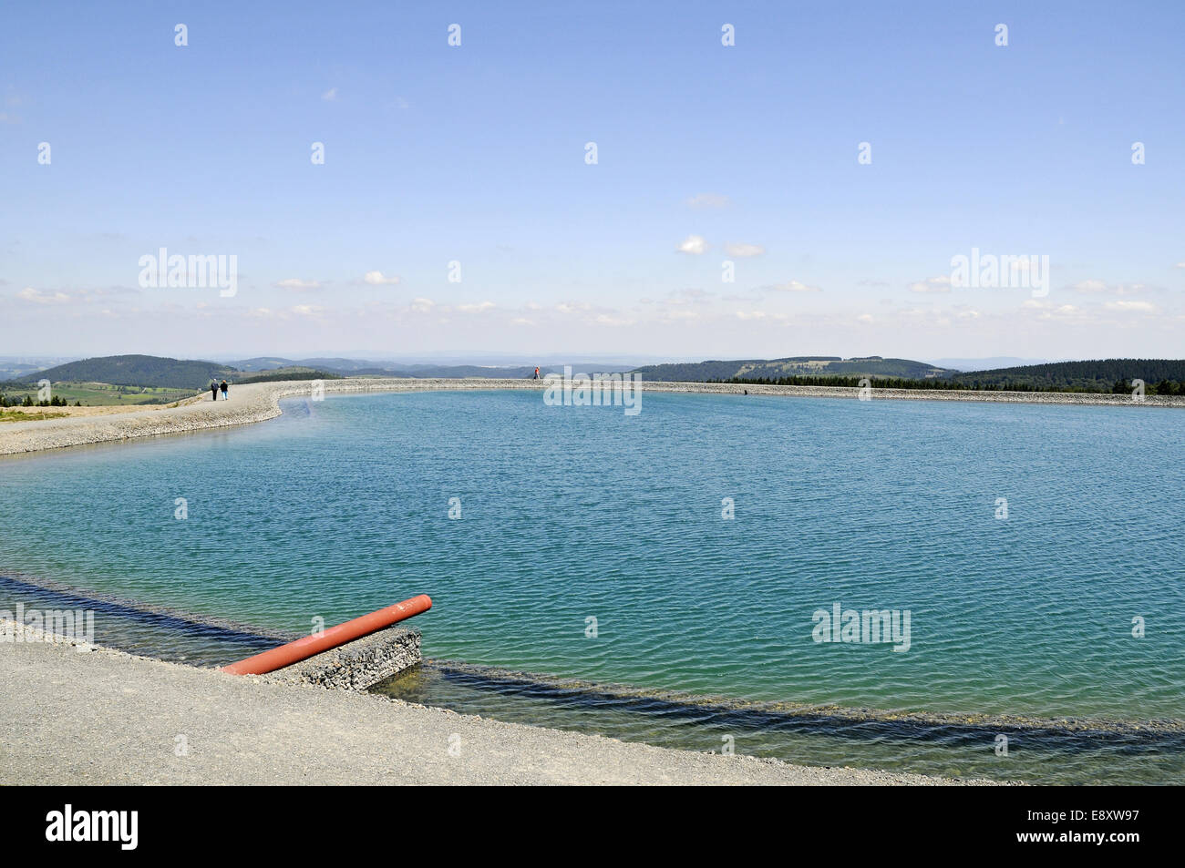 Artificial lake for the production of artificial snow - Stock Image