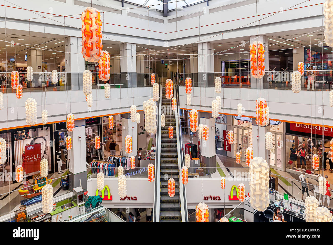Shopping mall interior view in Ashkelon, Israel Stock Photo