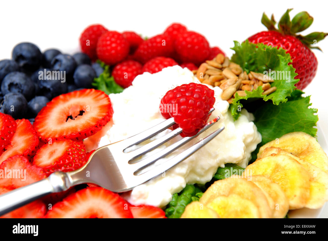 Cottage Cheese And Berries - Stock Image