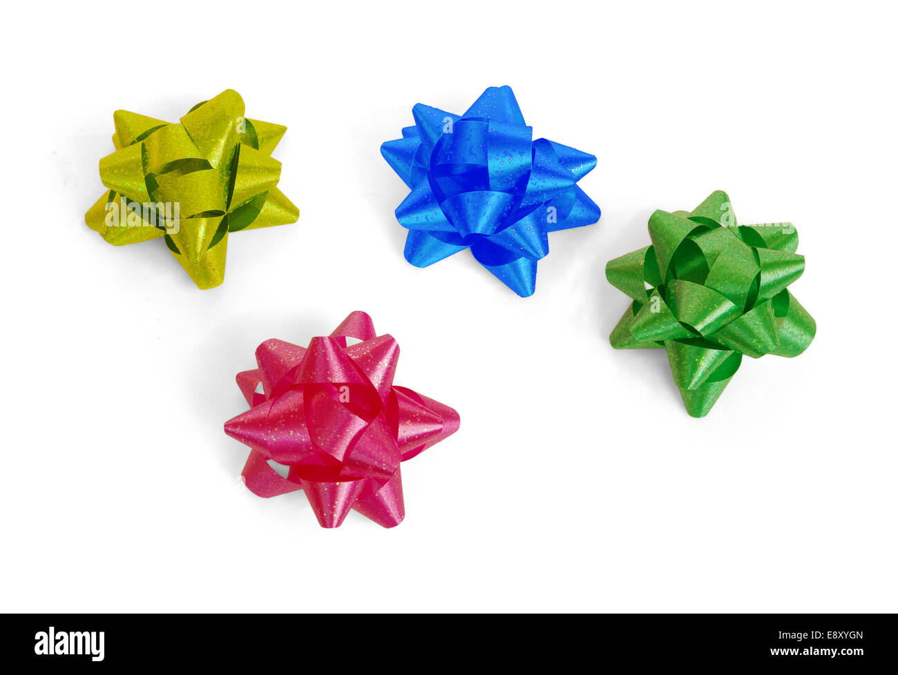 Colorful bows for decorating gifts - Stock Image