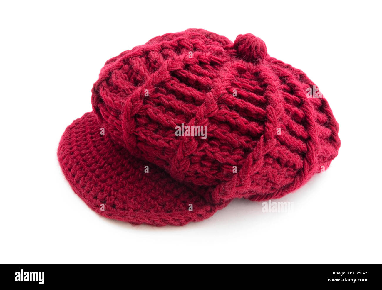 Red wool cap - Stock Image
