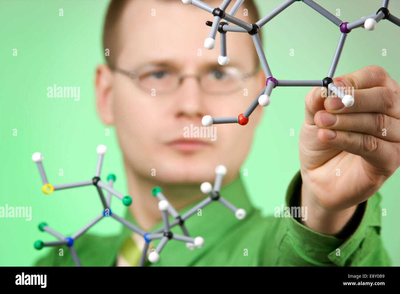 close up portrait of young chemist Stock Photo