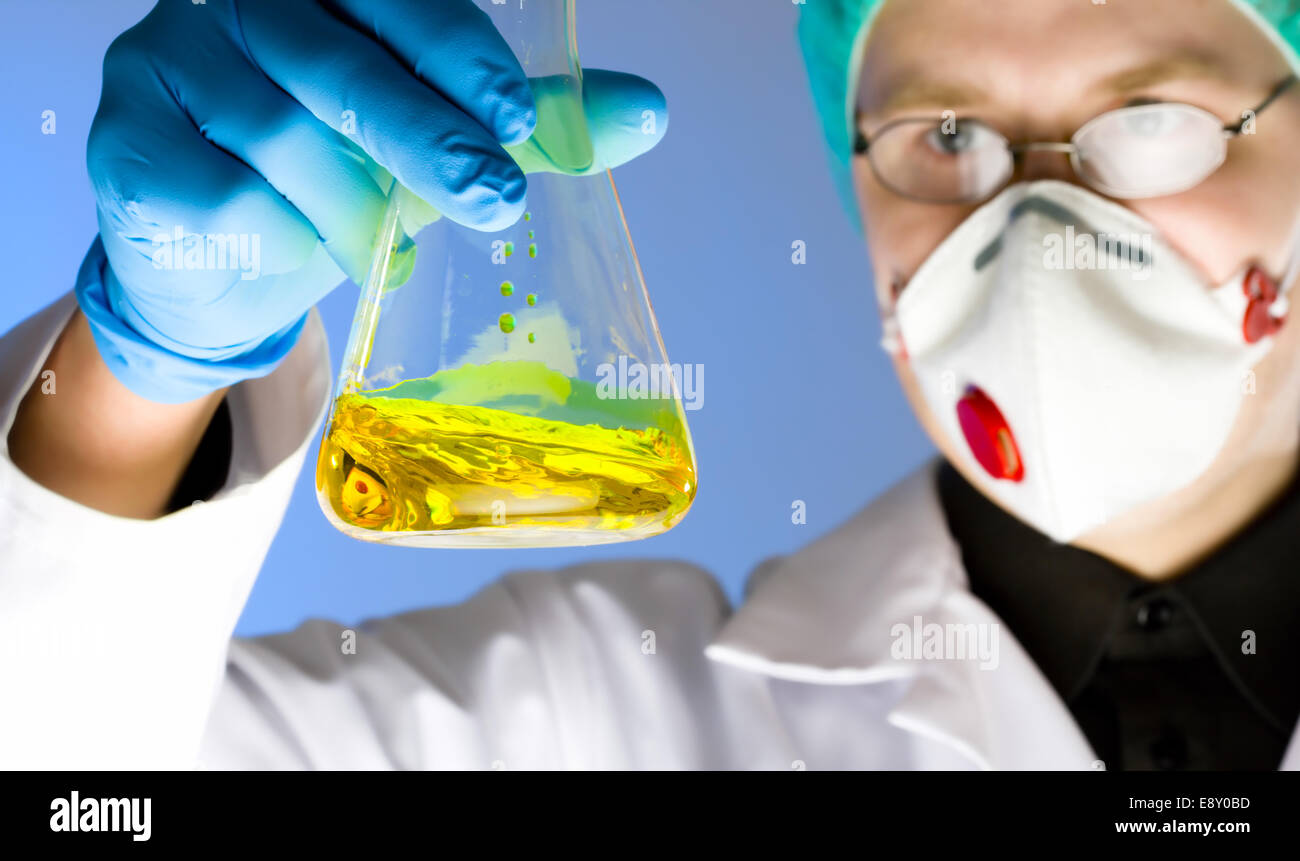 close up portrait of chemist - Stock Image