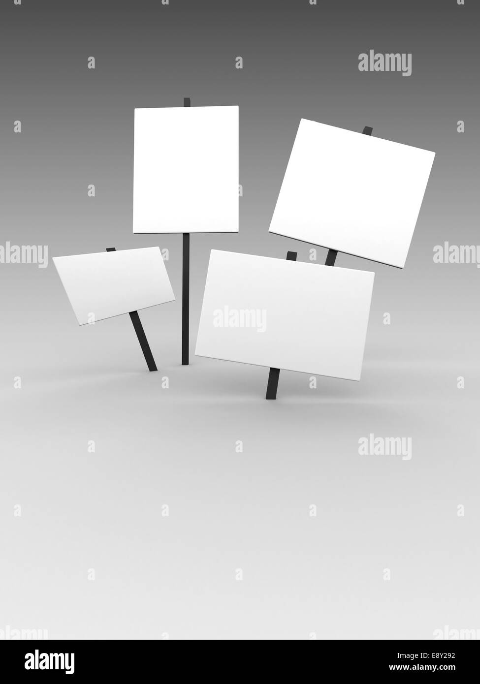 blank placards - Stock Image