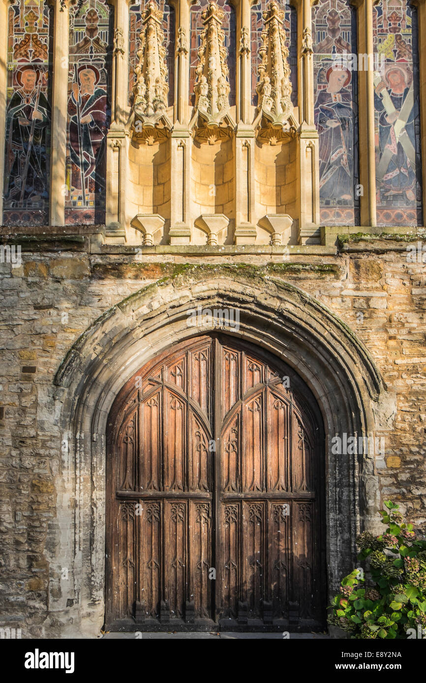 A closeup of the main doors to Holy Trinity church in Stratford upon Avon the location of the grave of William Shakespeare & A closeup of the main doors to Holy Trinity church in Stratford upon ...
