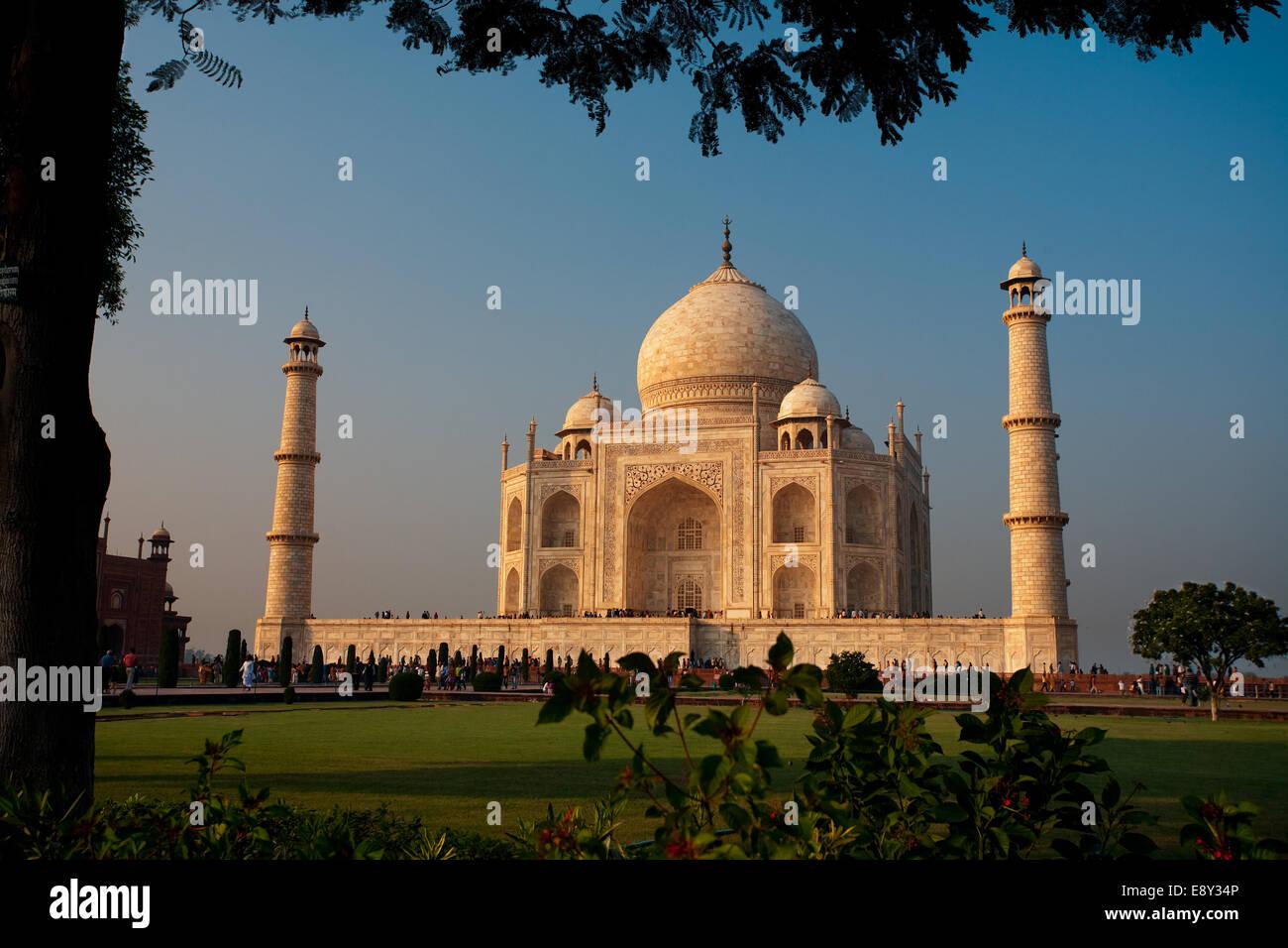 Evening Taj Mahal Sunset Framed - Stock Image