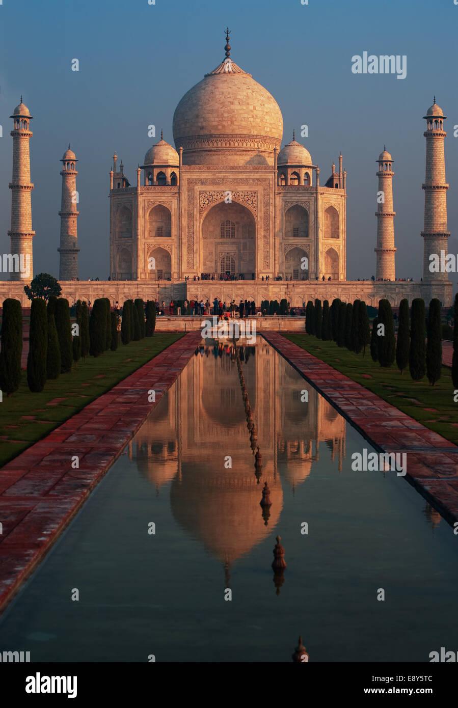 Taj Mahal Sunrise Fountain Reflection - Stock Image