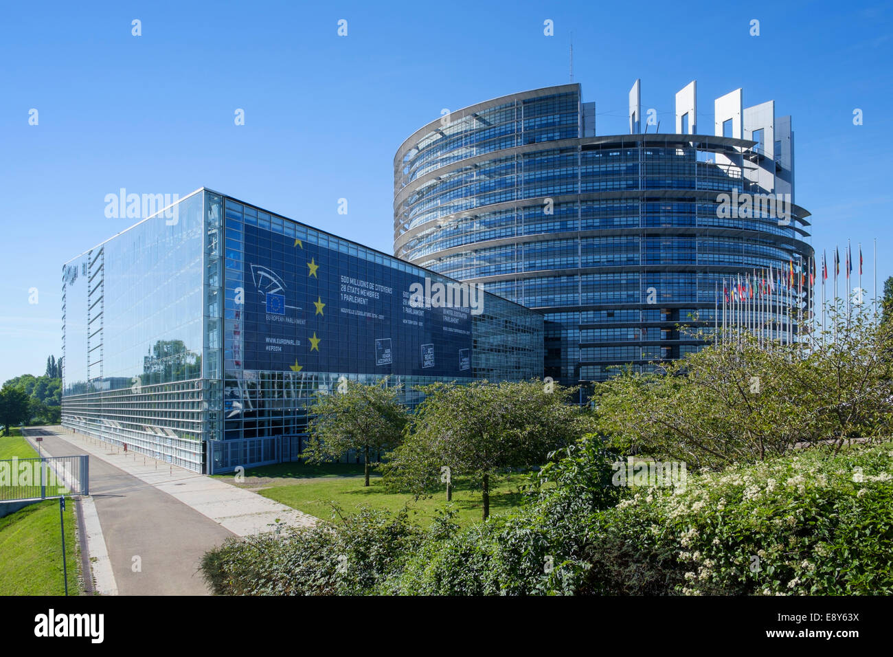European Parliament building in Strasbourg, France, Europe - the Louise Weiss Building Stock Photo
