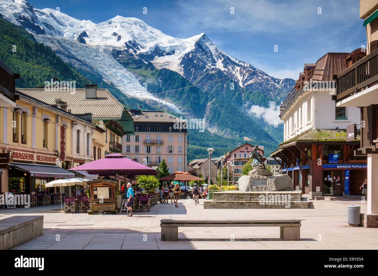 Mont Blanc Above Chamonix Town Center French Alps France Europe In Summer