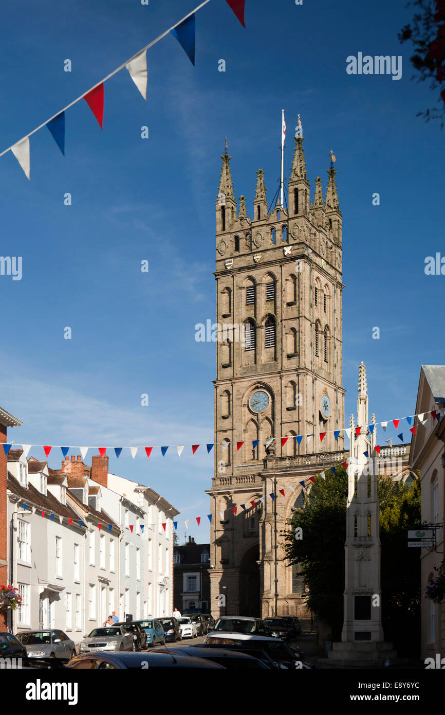 UK, England, Warwickshire, Warwick, Church Street, St Mary's Collegiate Church tower rebuilt after 1694 great fire - Stock Image
