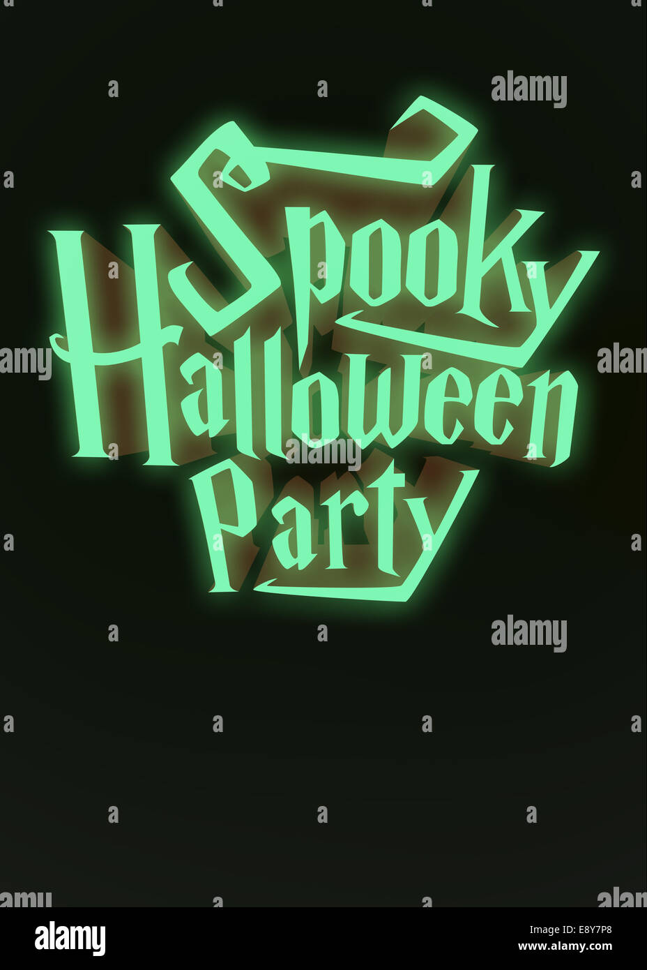 Spooky Halloween Party glowing neon letters 3d for poster template or Ad element on dark green background - Stock Image