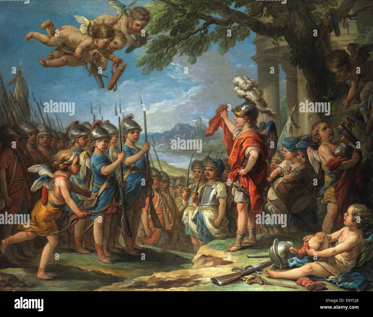 Carle van Loo  Amour et ses troupes - Stock Image