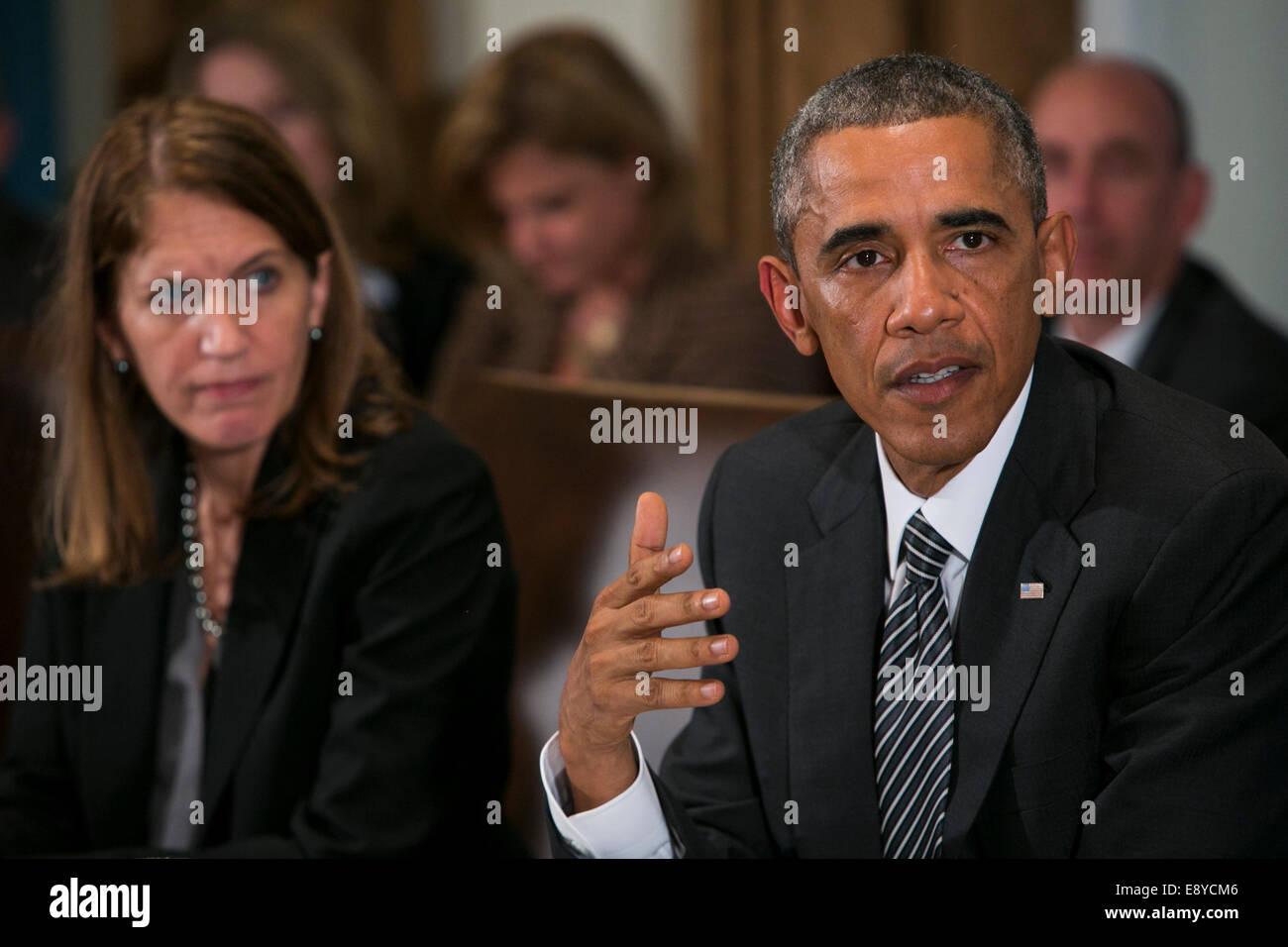 Washington, DC, USA. 15th Oct, 2014. United States President Barack Obama delivers remarks during a cabinet level Stock Photo