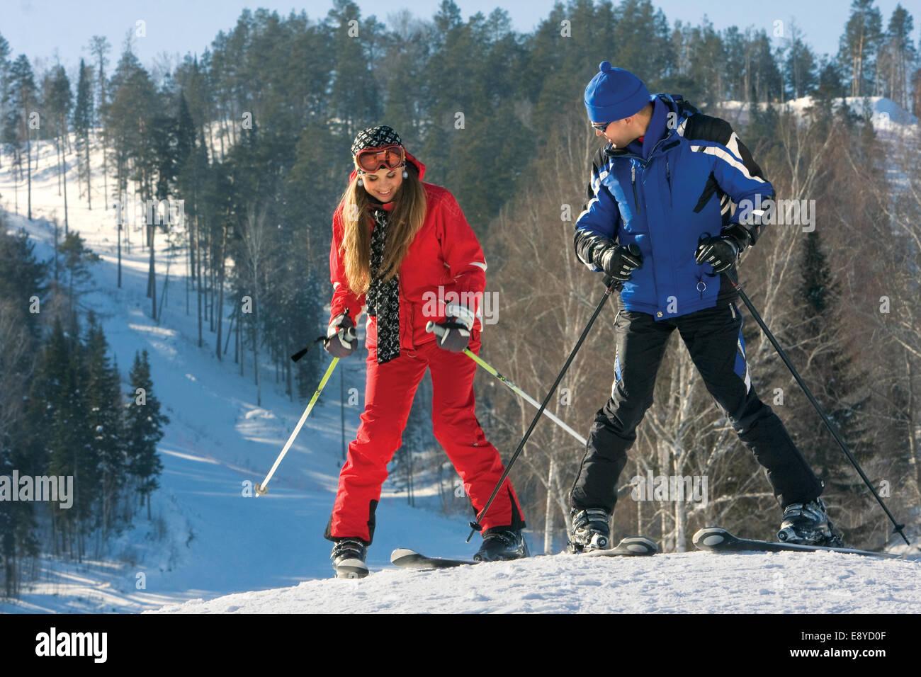 Learning to ski. - Stock Image