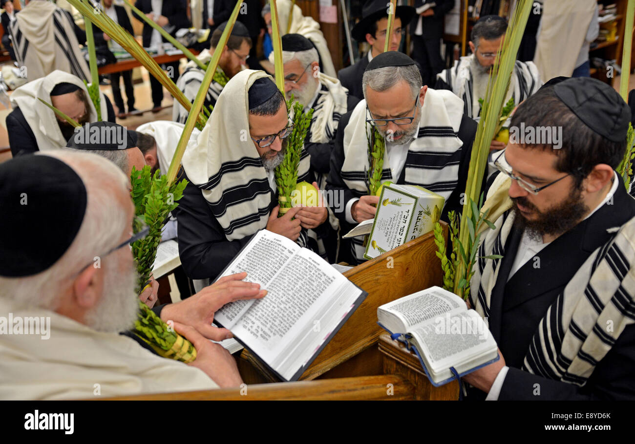 Religious Jewish men blessing the esrog and Lulv during the Jewish holiday of Sukkot at a synagogue in Brooklyn, - Stock Image