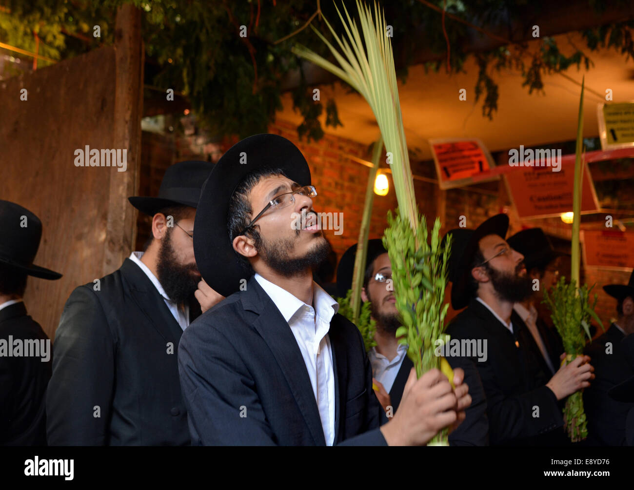 Religious Jewish men blessing the esrog and Lulv in a Sukkah  in Brooklyn, NY during the Jewish holiday of Sukkot. - Stock Image