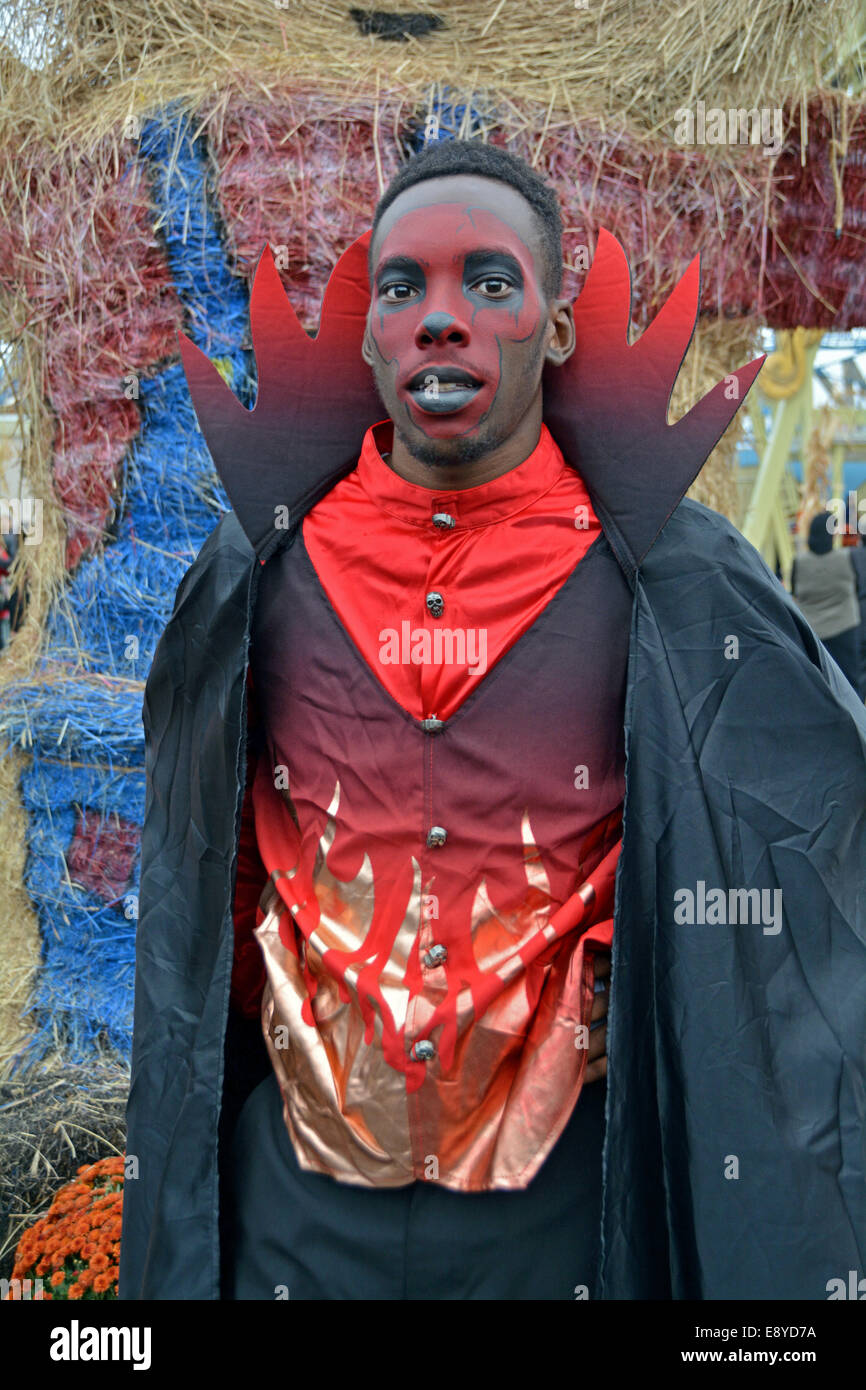 a young man in costume at the halloween harvest in luna park in coney island brooklyn new york