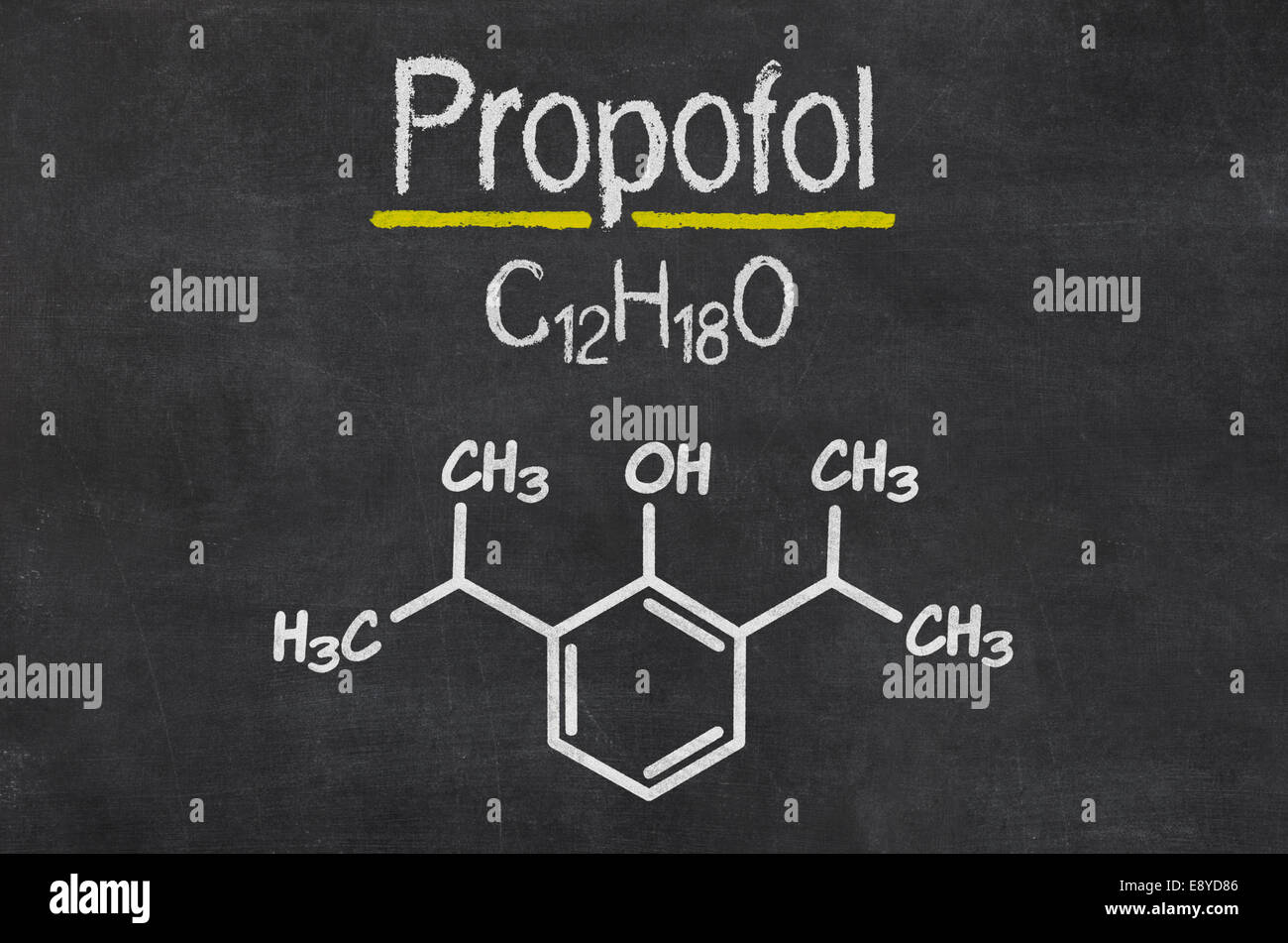 Blackboard with the chemical formula of Propofol - Stock Image