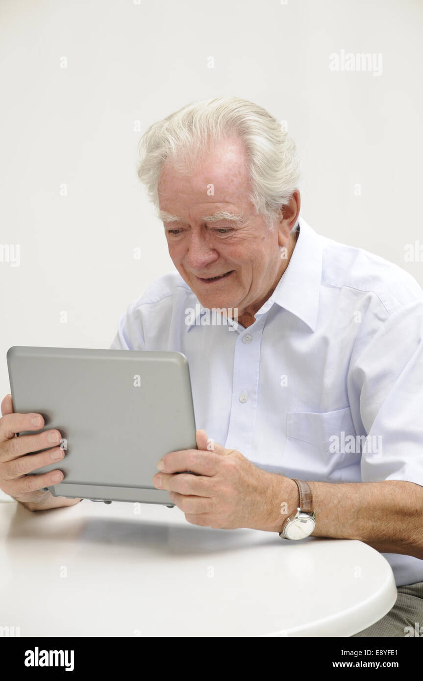 Pensioners Netbook - Stock Image