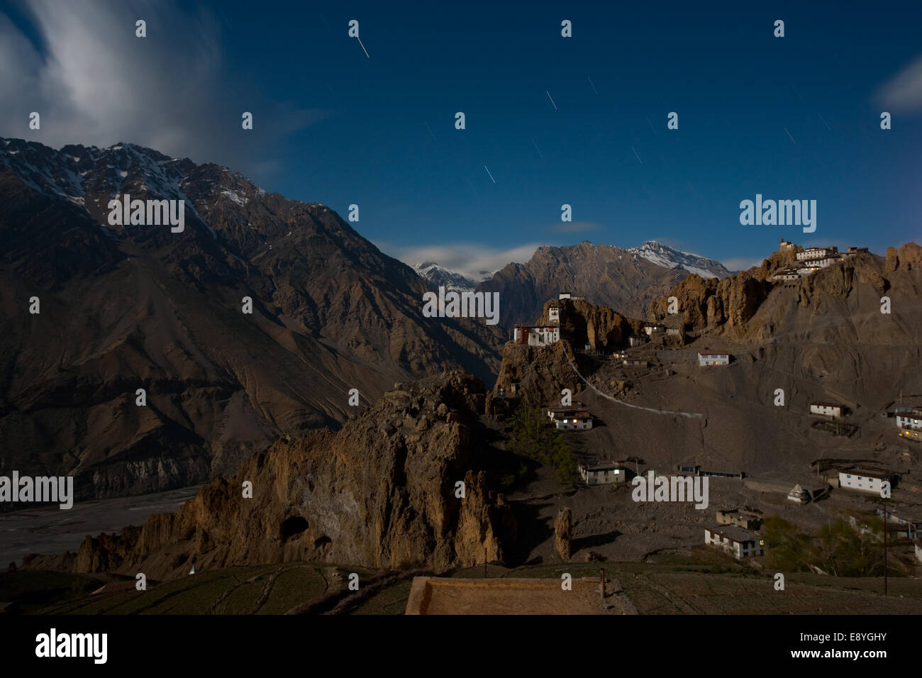 Dhankar Mountain Monastery Long Exposure - Stock Image
