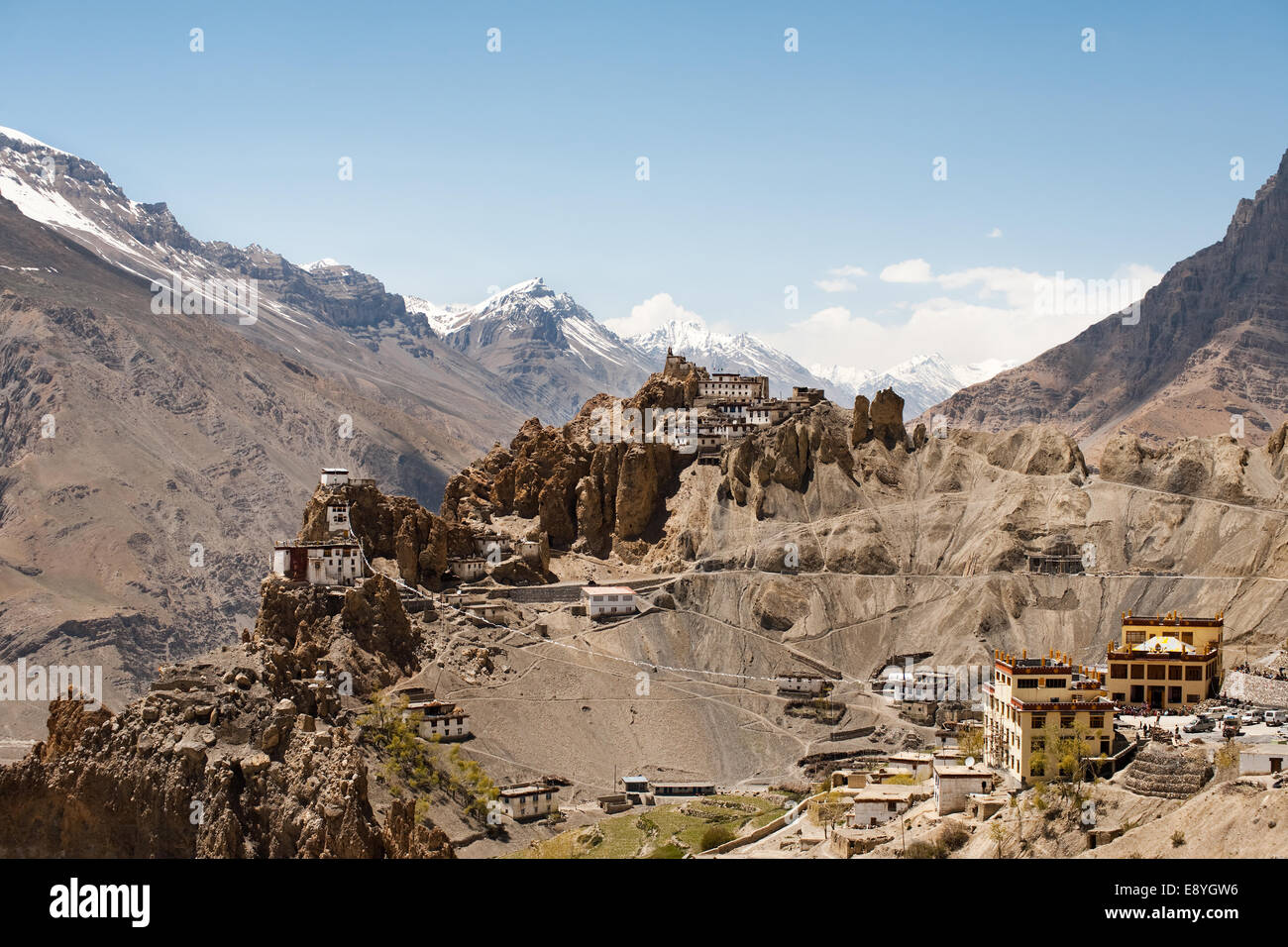 New and Old Dhankar Mountain Monastery - Stock Image