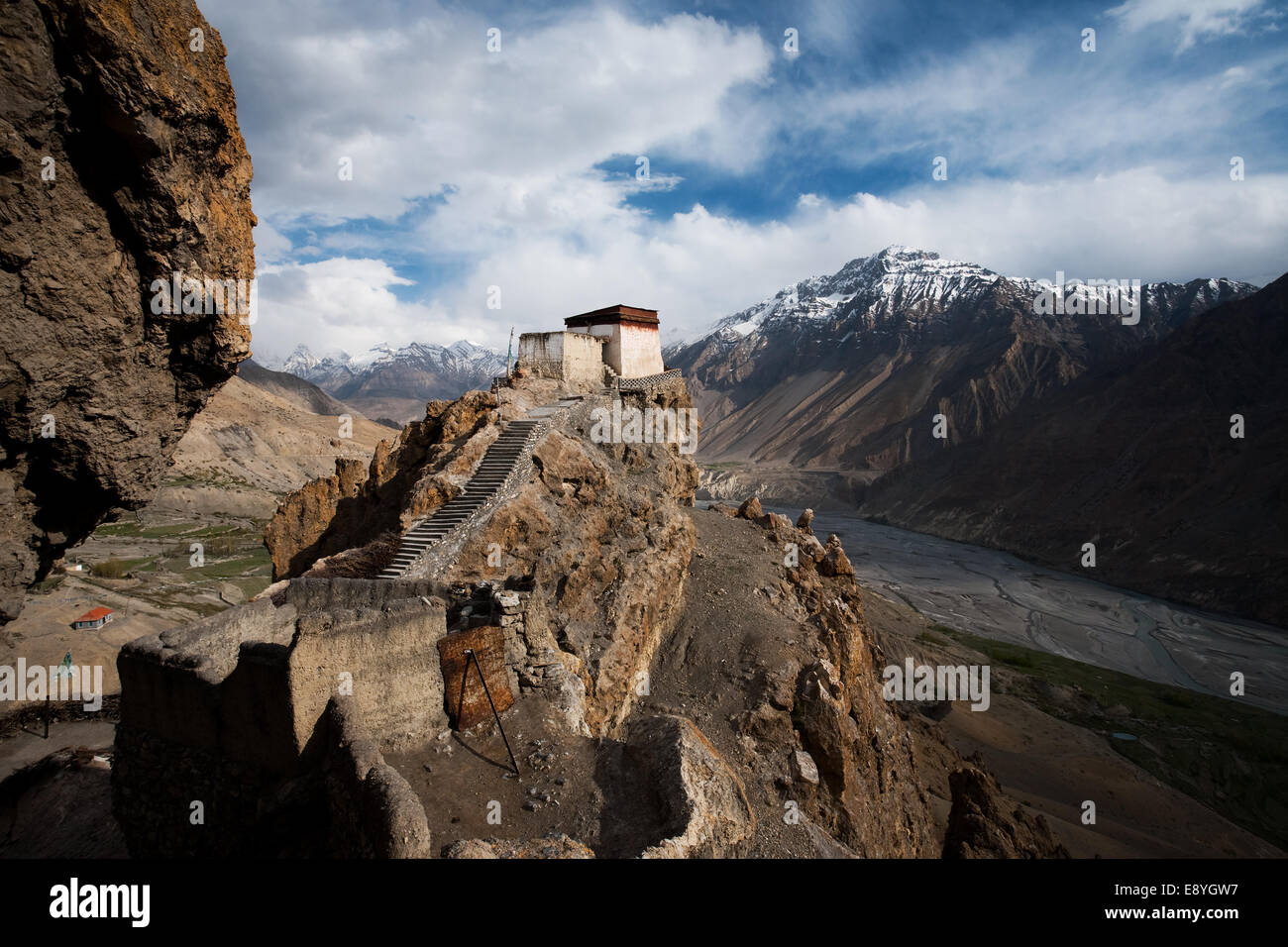 Dhankar Monastery Valley Below Landscape - Stock Image