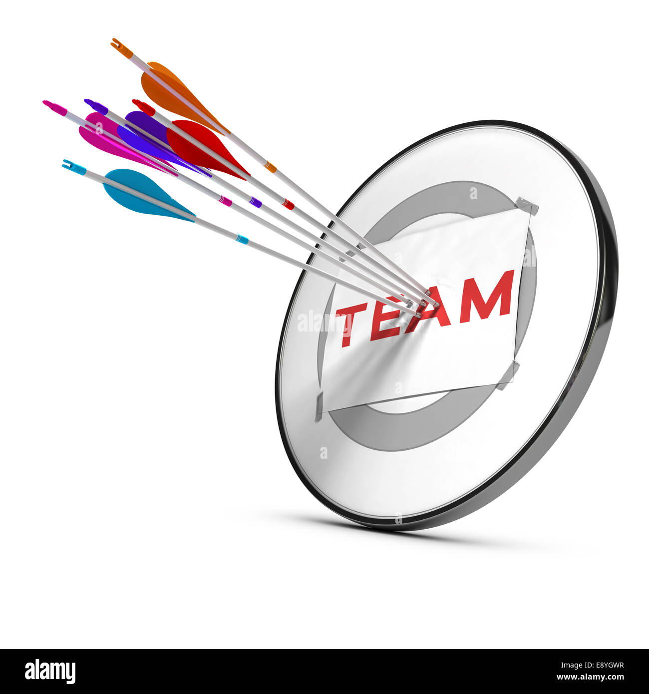 Five arrows hitting the center of a modern dart, target concept to illustrate teamwork or team success. - Stock Image