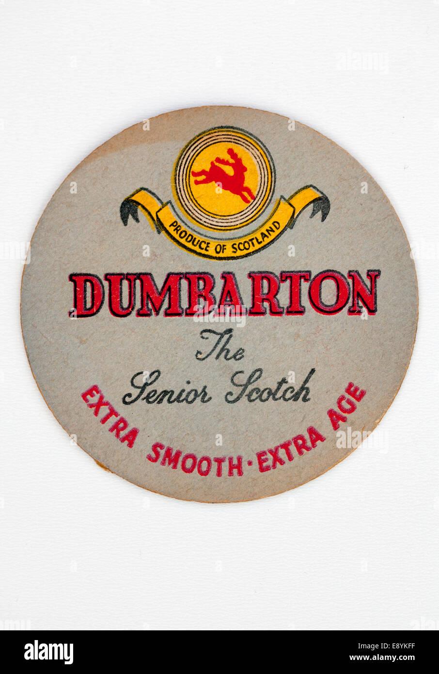 Vintage Old British Beer Mat advertising Dumbarton Whisky - Stock Image
