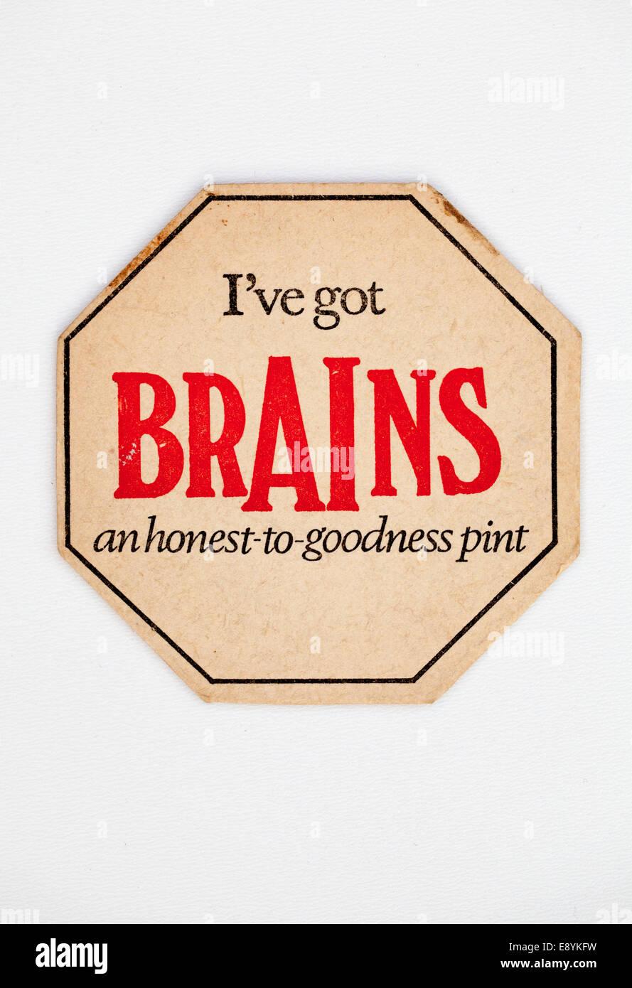 Vintage Old British Welsh Beer Mat advertising Brains Beers Stock Photo