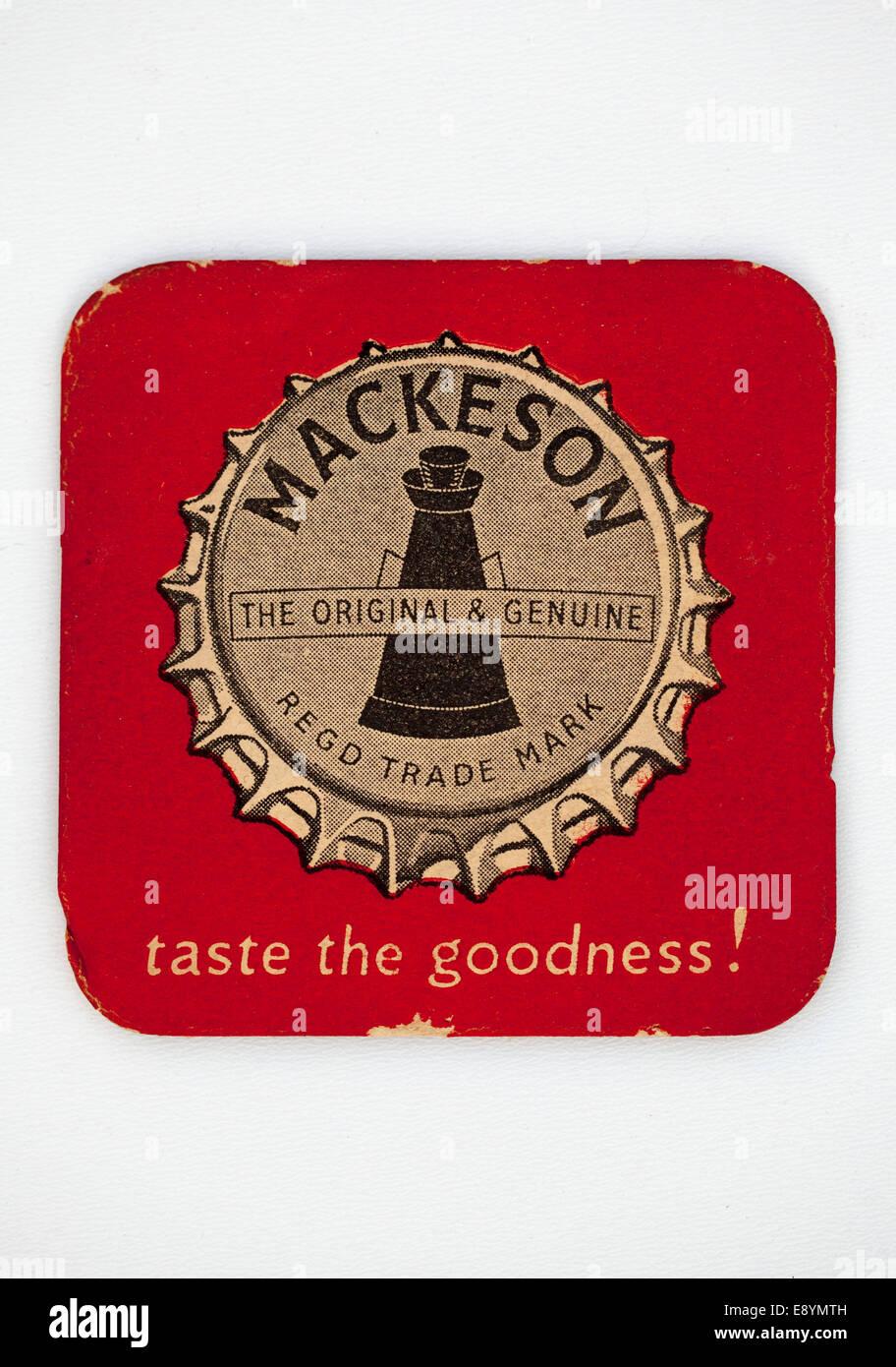 Vintage British Mackeson Beer Mat - The Original and Genuine - Taste the Goodness - Stock Image