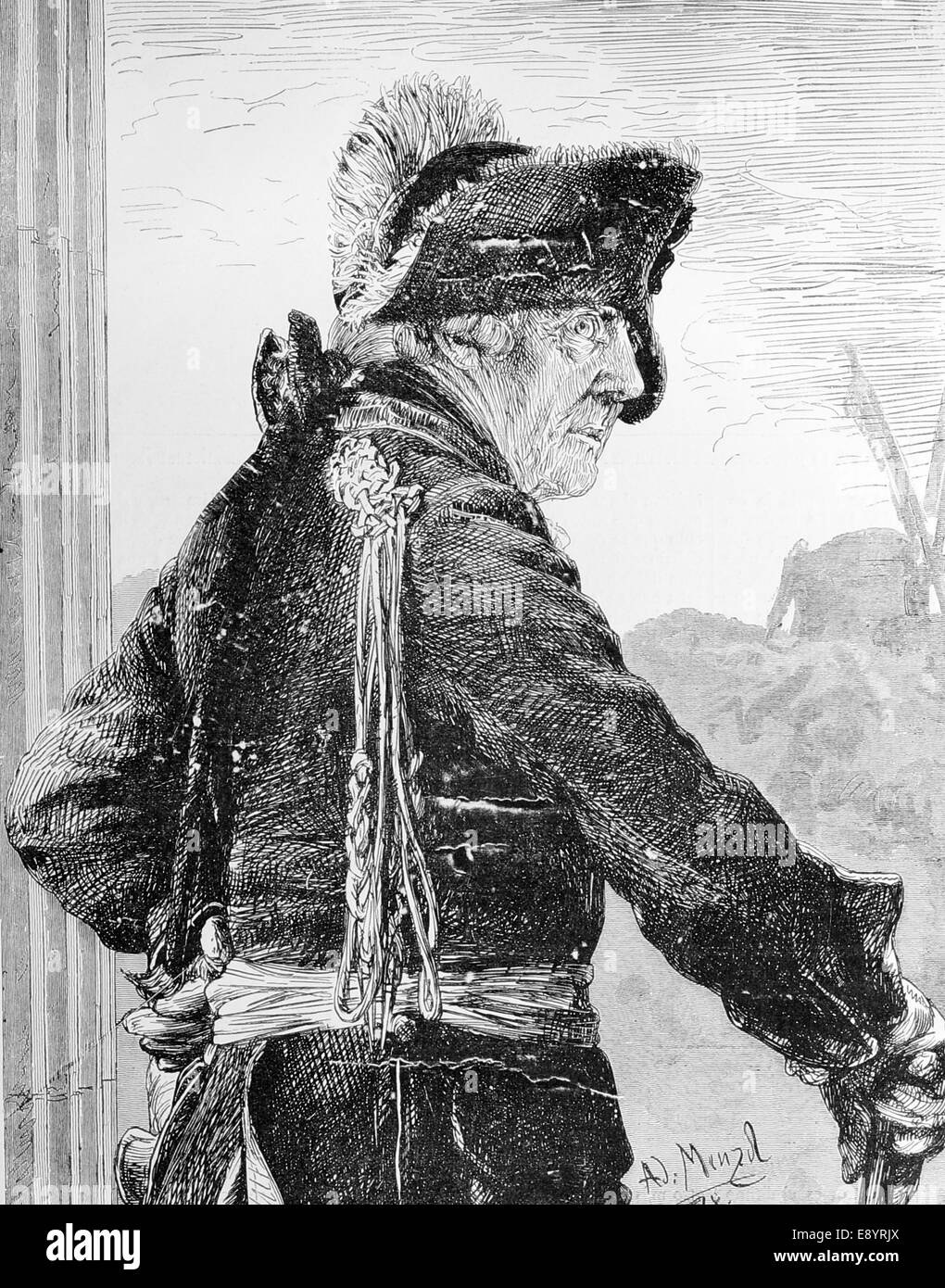 Frederick II the Great (1712-1786). King of Prussia. Drawing by Adolph Menzel (1815-1905). Engraving. Artistic Illustration, - Stock Image
