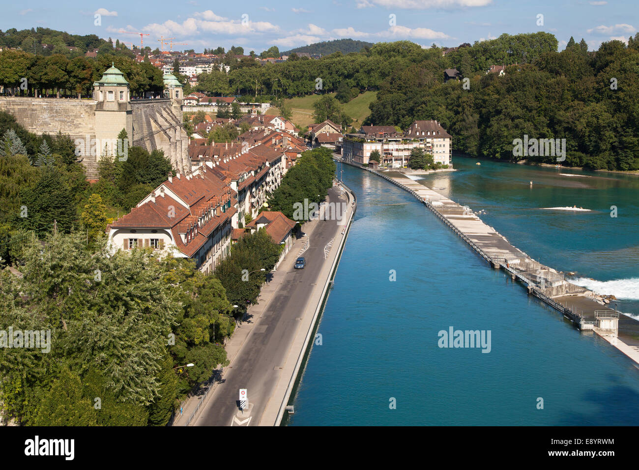 Matte quartier, historic district of Bern at the shores of river Aare. - Stock Image