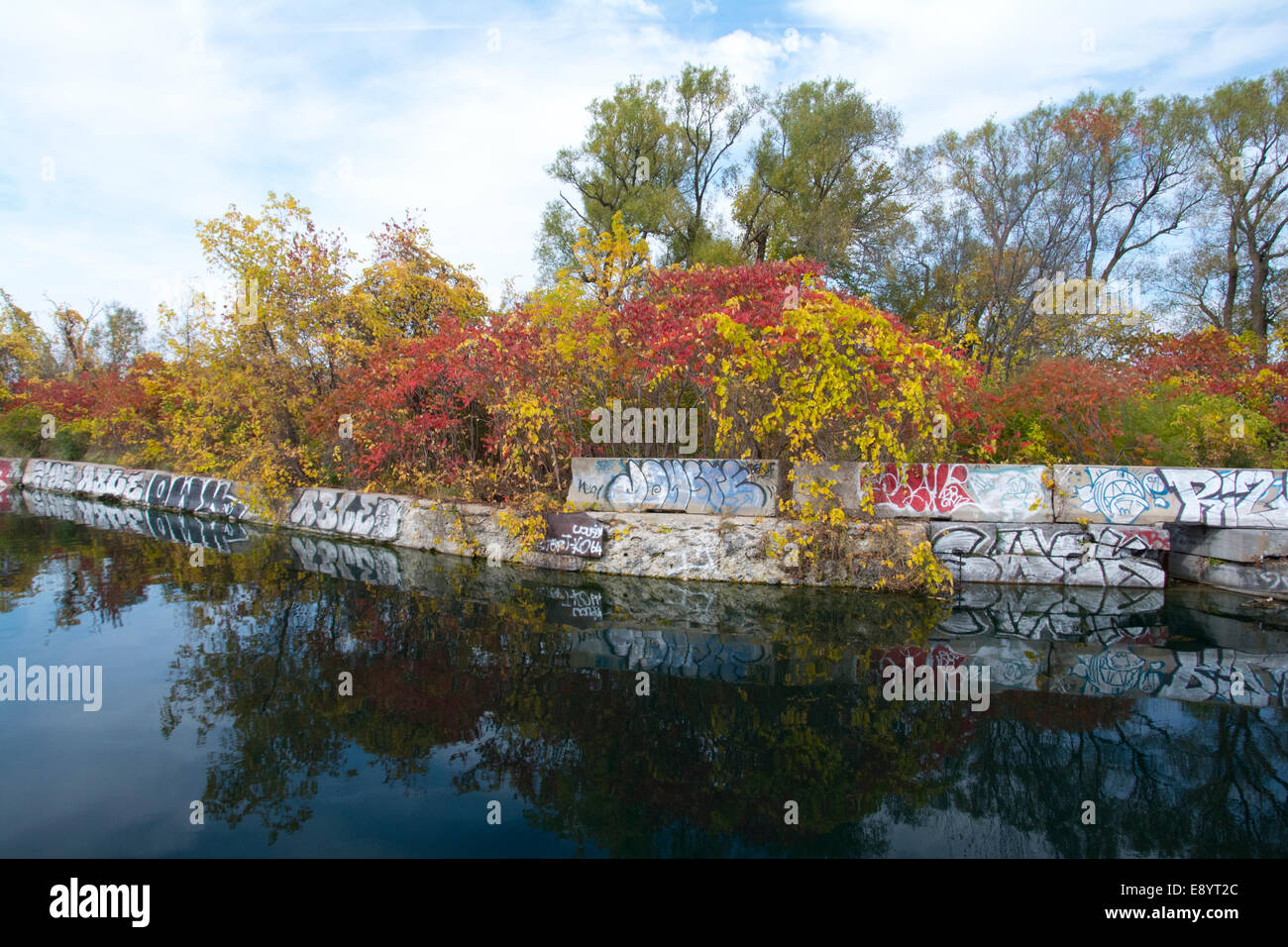 The blight of graffiti at the Soulange Canal, Quebec. - Stock Image