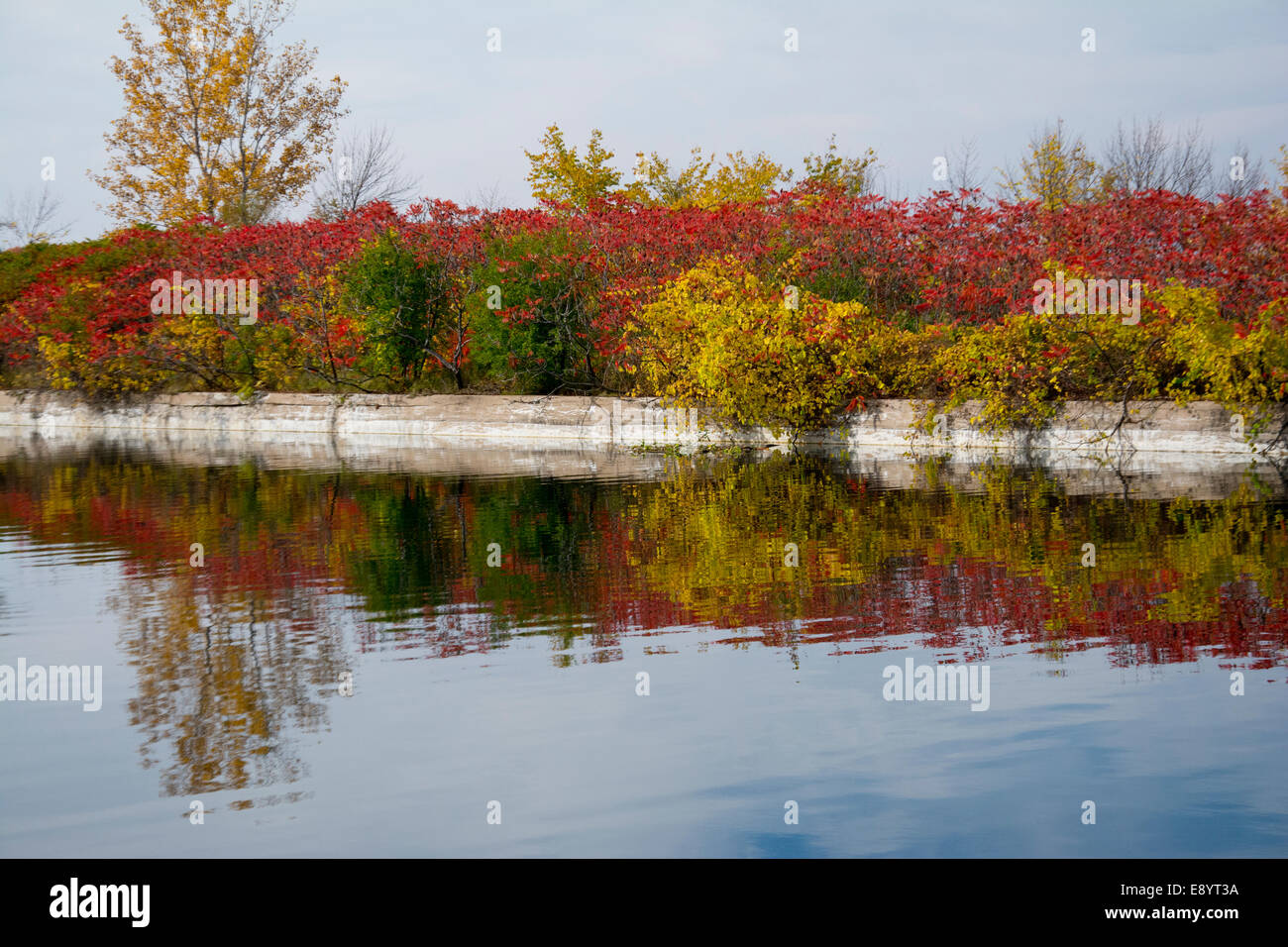 A view of the walls of the Soulange Canal. - Stock Image