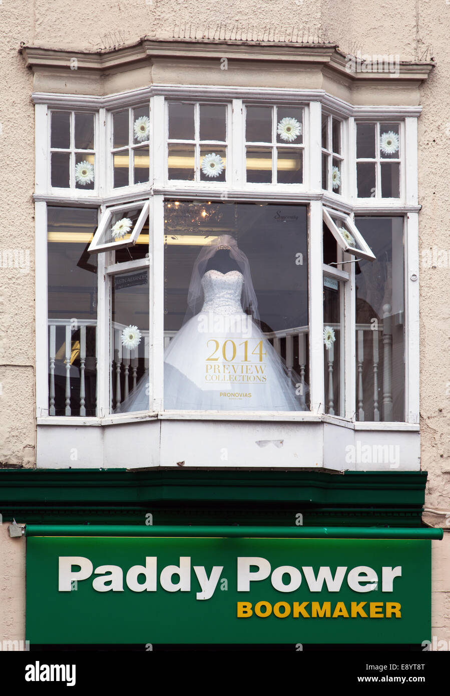 'Paddy Power' Betting Shop Bookmaker and Bridal Wear business in Williamson Square, Liverpool, Merseyside, - Stock Image