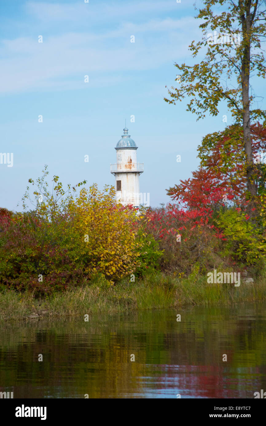 A view of the old lighthouse at the entrance to the Soulange Canal. - Stock Image
