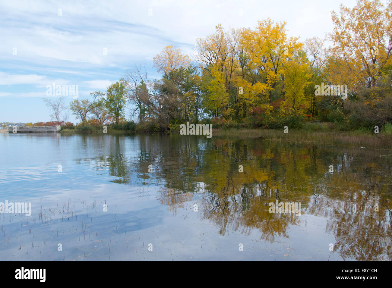 A view of a basin beside the entrance to the Soulange Canal. - Stock Image