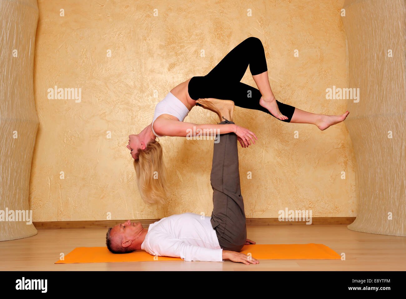 active, aerial, aero, air, antigravity, anti-gravity, arts, asana, balance, beauty - Stock Image