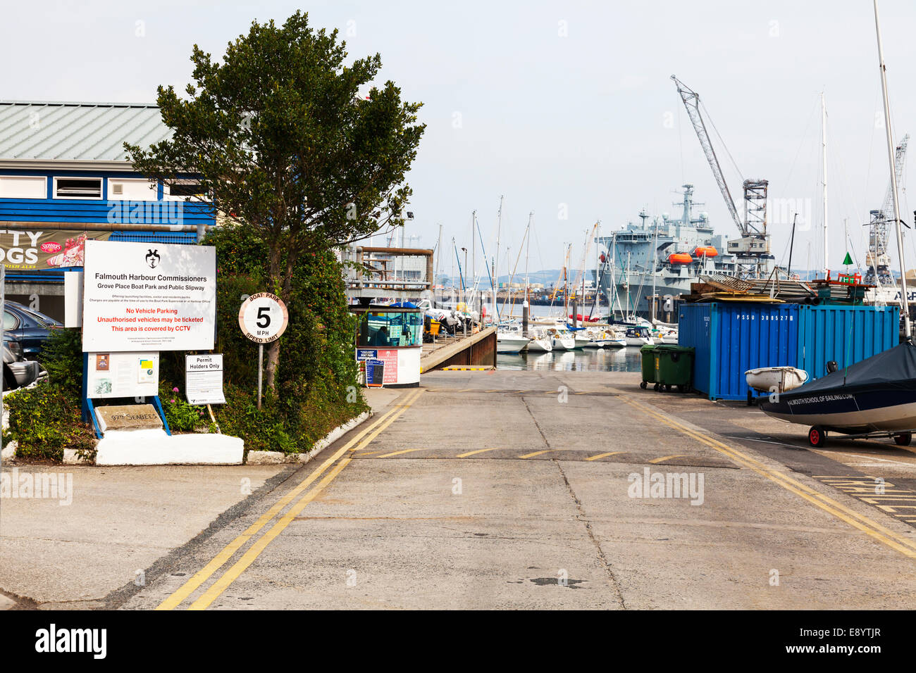 Falmouth harbour commissioners office harbor public slipway Cornwall Cornish UK England access Stock Photo