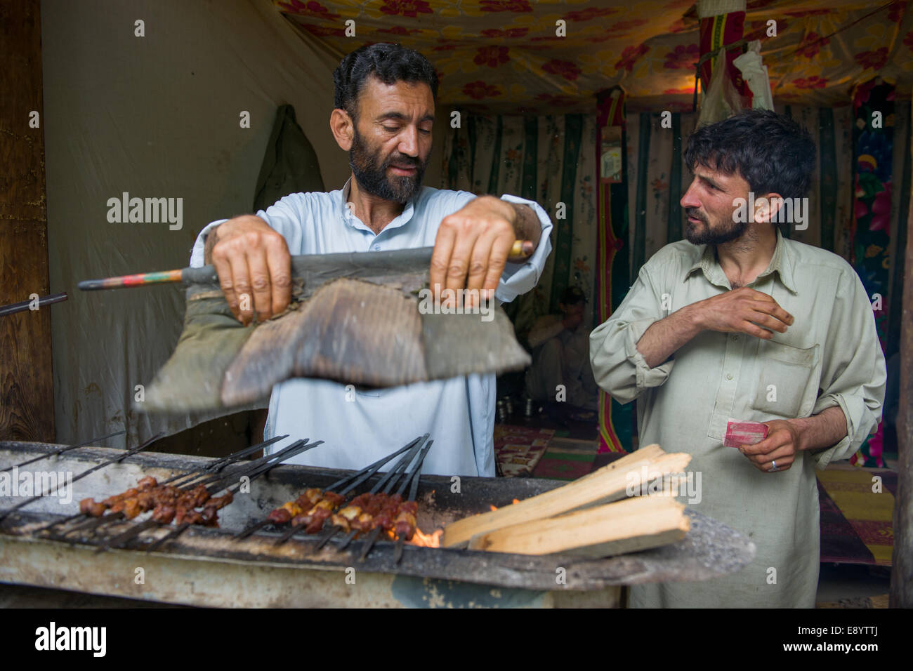 Small shop selling kebabs, Rumbur Valley, Chitral, Khyber-Pakhtunkhwa, Pakistan - Stock Image