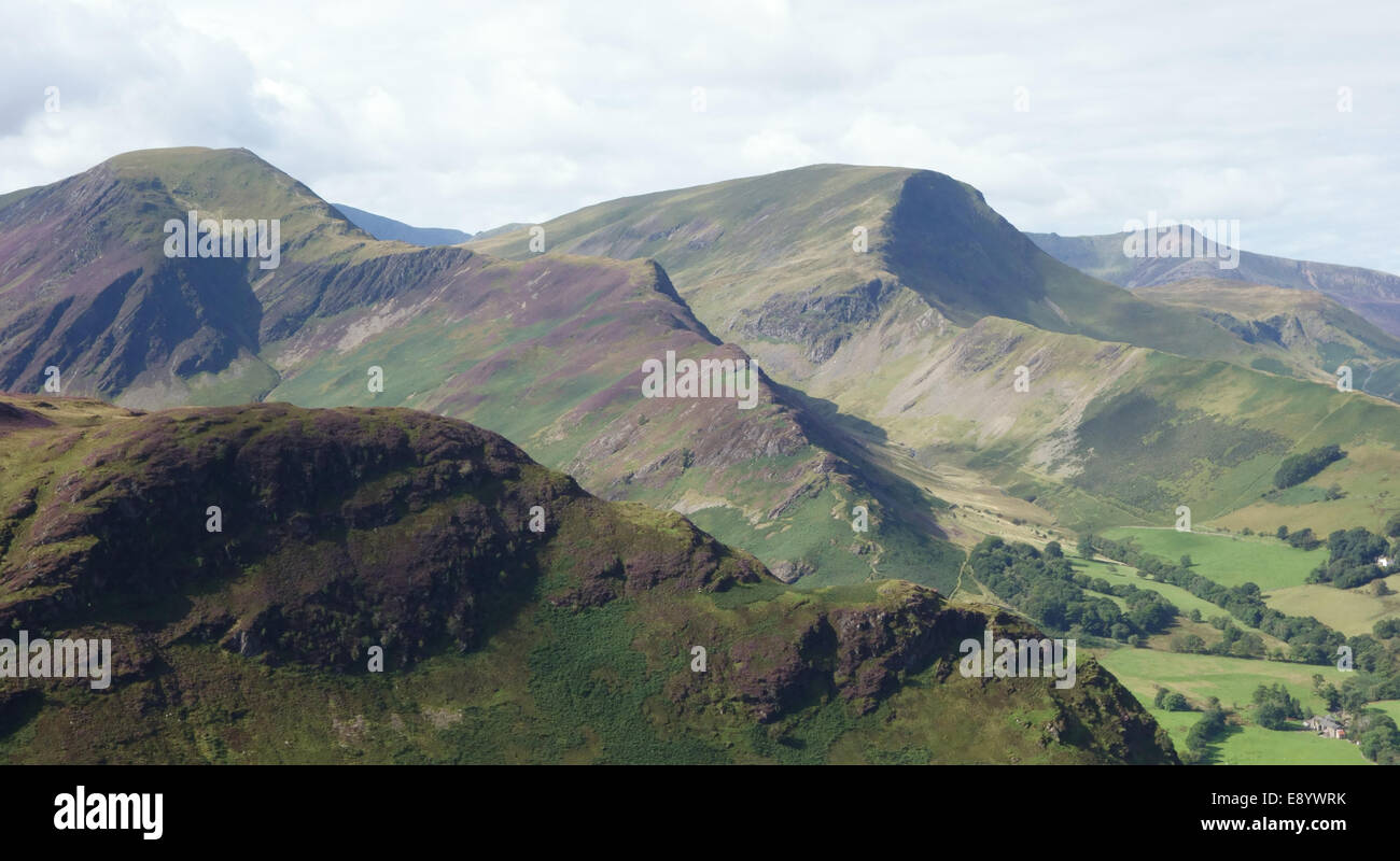 Hindscarth and Robinson, a view from Catbells in the northwestern Lakeland Fells, Cumbria - Stock Image