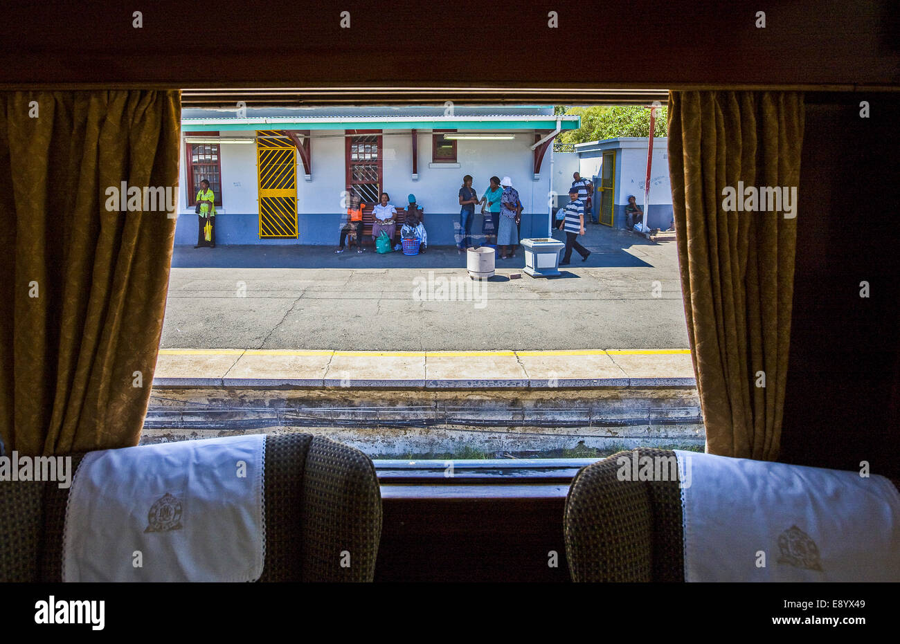 South Africa, the Rovos Rail luxury train in the Huguenot station - Stock Image