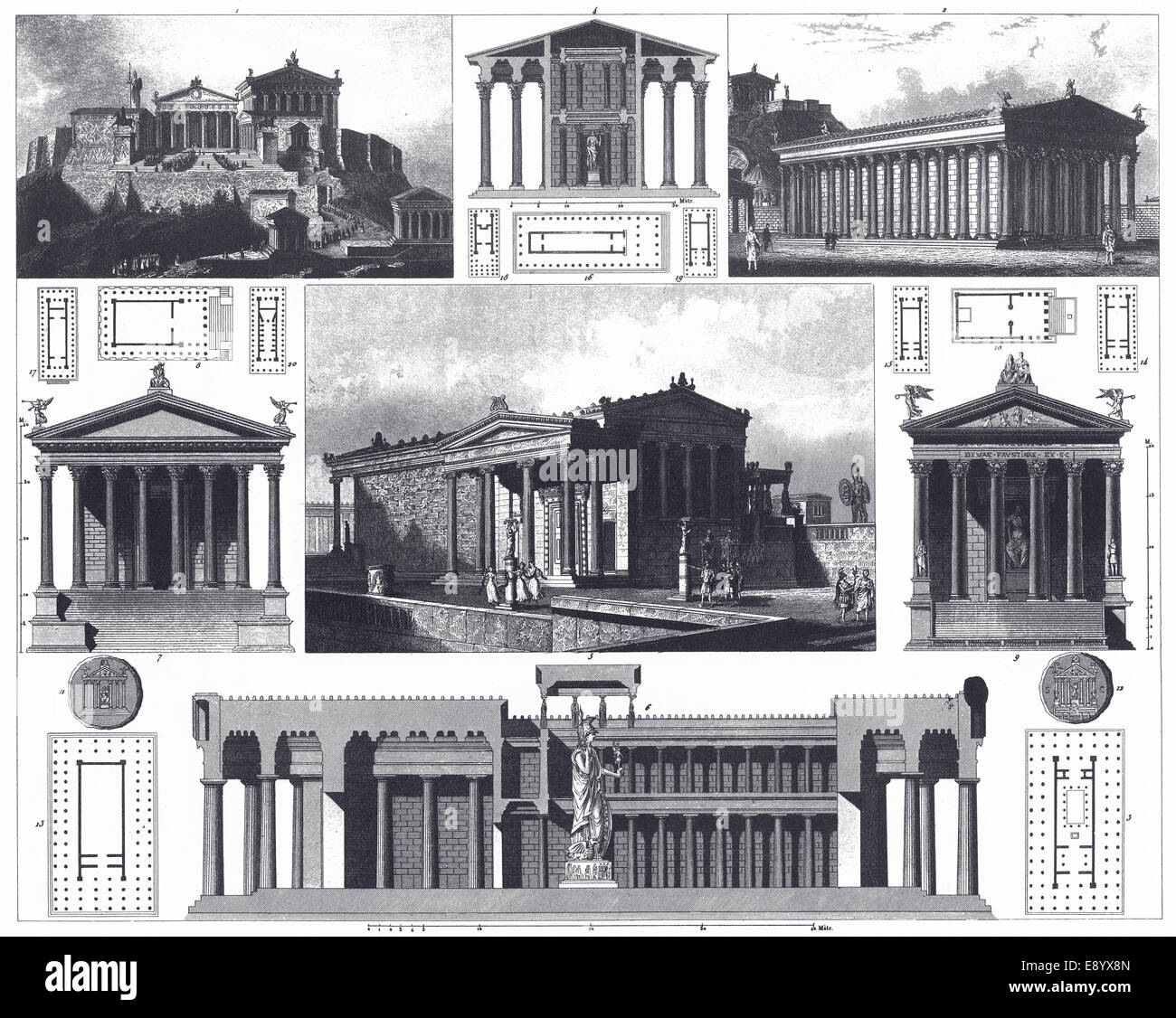 Engraved illustrations of Greek and Roman Temples from Iconographic Encyclopedia of Science, Literature and Art, Stock Photo